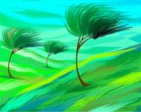 Digital painting of trees in grassland suffering s