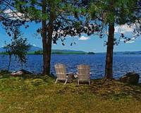 Two Chairs on Lake overlooking Mount Katahdin
