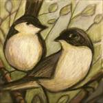 """Autumn Chickadees in Sepia"" by JENLO"