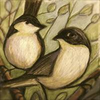 Autumn Chickadees in Sepia
