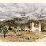 """Santa Barbara Mission Founded 1786"" by lookbackart"