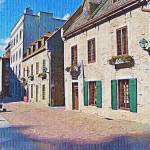 """quebec-city-street-scene-embroidery"" by sacorivergraphics"