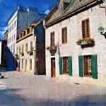"""quebec-city-street-scene-oil"" by sacorivergraphics"
