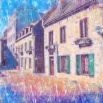 """quebec-city-street-scene-pastel"" by sacorivergraphics"
