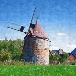 """isle-de-coudre-windmill-impasto"" by sacorivergraphics"