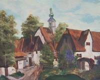 European Village original oil painting