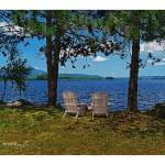 """katahdin-lake-chairs-11x14w-white-border"" by sacorivergraphics"