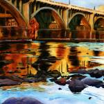 """Gervais Street Bridge at Dusk"" by rachelsstudiodotcom"