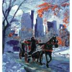 """First Snow - New York City - Travel America Poster"" by BeaconArtWorksCorporation"
