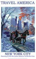 First Snow - New York City - Travel America Poster
