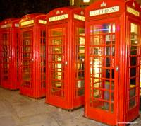 Four Red Phoneboxes