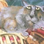 """cat on a chair"" by cedarmesaart"