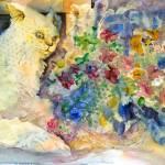 """Cat with Geraniums"" by cedarmesaart"