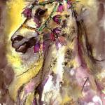 """Arabian Stunning Horse Portrait in Watercolor"" by GinetteCallaway"
