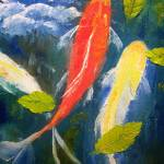 """Koi Fish and Leaves"" by mazz"
