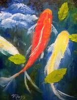 Koi Fish and Leaves