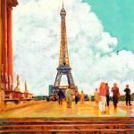 """Eiffel Tower, Paris, France RD Riccoboni painting"" by BeaconArtWorksCorporation"