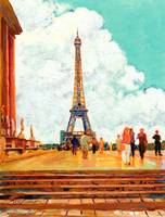 Eiffel Tower, Paris, France RD Riccoboni painting