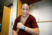 Shay Doron modeling her new awareness bracelets