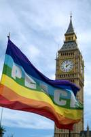 Peace flag by Big Ben.