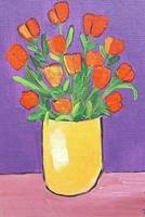 Red Tulips in Yellow Vase