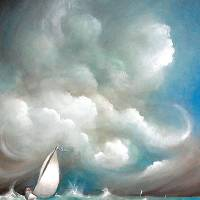 """Sailboat in Stormy Sea"" by sgnarts"