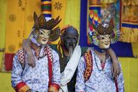 Bhutan 2008 Festival Dancers At Rest gloriousjourn