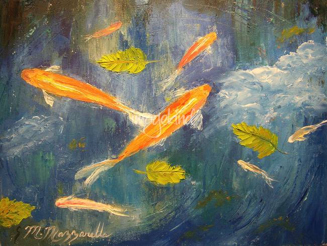 Stunning tropical fish painting artwork for sale on fine for Koi pool paint