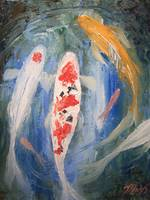 Tancho Kohaku and Sanke Koi Fish Painting