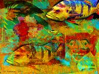 Hawaii fish+red mask collage