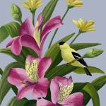 """Flowers With Goldfinch"" by waterart"