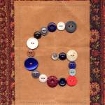 """Letter G with Vintage Buttons and Brown Paper Bag"" by Pumpkinbear"