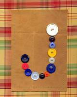 Letter J with Vintage Buttons and Brown Paper Bag