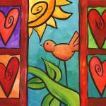 """Whimsical Bird in Window"" by funkybrush"