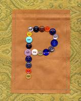 Letter P with Vintage Buttons and Brown Paper Bag