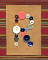 Letter R with Vintage Buttons and Brown Paper Bag