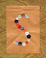 Letter S with Vintage Buttons and Brown Paper Bag