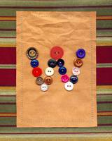 Letter W with Vintage Buttons and Brown Paper Bag