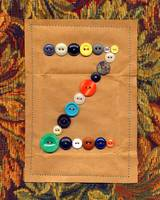 Letter Z with Vintage Buttons and Brown Paper Bag