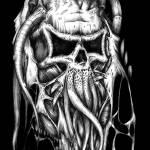 """Fleshy Skull Black"" by Daniel_Bollans"