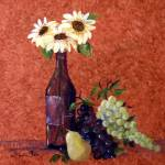 """Still Life-sunflower,grapes,wine bottle,pear"" by Contempo_Sales"