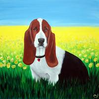 basset hound in flowers