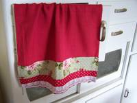 Red Retro and floral tea towel- Created by Cath.
