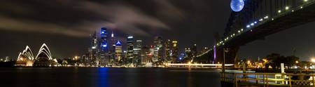 Sydney Harbour night panorama