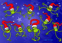 Merry Christmas Frogs jumping, dancing and celebra