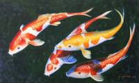 Best Friends Koi Fish Oil Painting