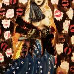 """Greta Garbo ink collage and pencil on paper (40x26"" by Artclub"