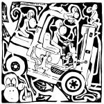 """Maze Comics: Team Of Monkeys operates a forklift"" by mazes"