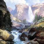 """Waterfall in Yosemite (1913) by Thomas Moran"" by ArtLoversOnline"
