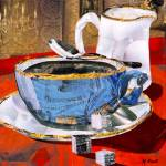 """Denim Coffee Cup"" by marjoriepesekfineart"